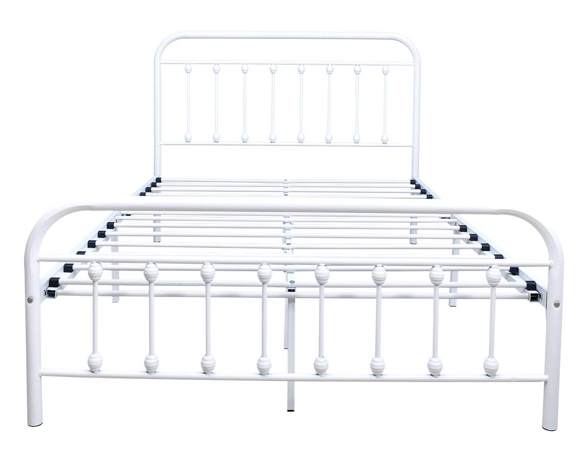 Twin, Orange Twin//Full//Queen Size Metal Platform Bed Frame with Vintage Headboard and Footboard No Box Spring Needed Premium Steel Slat Support Mattress Foundation Black//White//Bronze