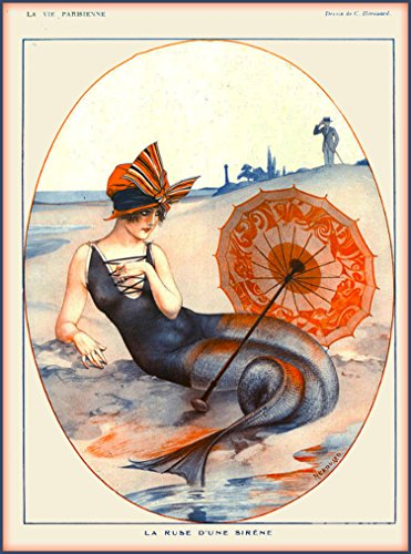 1920's La Vie Parisienne Mermaid - La Ruse Dune Sirene French Nouveau from a Magazine France Travel Advertisement Picture Collectible Wall Decor Art Poster Print. Poster measures 10 x 13.5 inches.