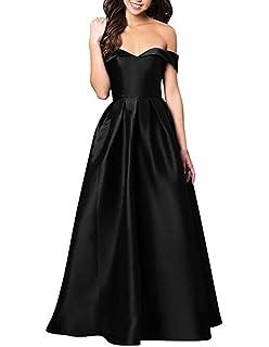 Elleybuy Womens Off The Shoulder A-Line Long Prom Dress 2018 Formal Evening Dresses
