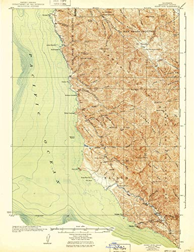 YellowMaps Point Sur CA topo map, 1:62500 Scale, 15 X 15 Minute, Historical, 1925, Updated 1940, 21.3 x 16.4 in - ()