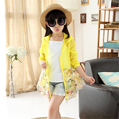 FTSUCQ Big Girls UPF 50+ Protection Cardigan Floatsuit Outerwear,Yellow 120 by FTSUCQ (Image #5)