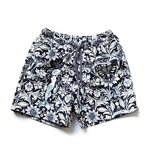 Barons & Bastards Men's Swimming Shorts Navy = blue-Weiss Gemustert