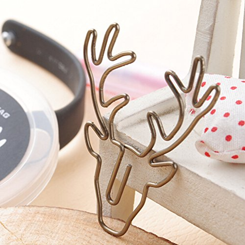 SODIAL 8pcs/box paper clips retro metal book clip mark antlers cute paper clips for office stationary clips reading decoration