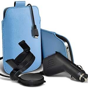 Samsung I8190 Galaxy S3 mini premium protección PU ficha de extracción Slip In Pouch Pocket Cordón Piel Con 12v USB Micro Cargador para el coche y 360 Sostenedor giratorio del parabrisas del coche cuna de bebé azul por Spyrox