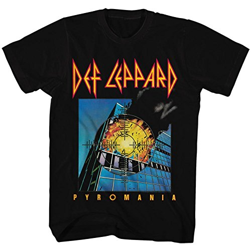 (Def Leppard 80s Heavy Hair Metal Band Rock and Roll Pyromania Adult T-Shirt Tee Black)