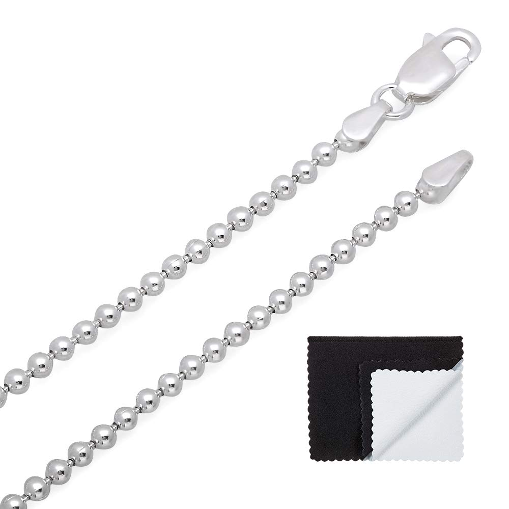 2.2mm 925 Sterling Silver Nickel-Free Pallini Style Bead Italian Chain, 30'' + Bonus Polishing Cloth by The Bling Factory