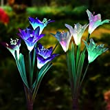 Solar Garden Decorations Outdoor - 2 Pack Erhard Solar Powered Garden Stake Lights with 8 Lily Flower, Multi-Color Changing LED Solar Stake Lights for Garden,Patio,Backyard(Purple and White)
