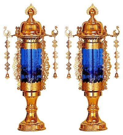 霊前灯 11号 バブル灯 ブルーヨーラク付:一対 B0053MZ4B0