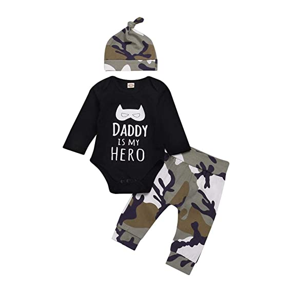 K-youth Ropa Bebe Nino Recien Nacido Otoño Invierno Daddy IS MY Hero Infantil Body Bebe Niña Manga Larga Camisetas Bebé Mono Mameluco + Camuflaje ...