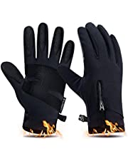 2019 Kekilo Winter PU Leather Waterproof Touchscreen Full Finger Gloves Men&Women Keep Warm,Windproof and Rainproof for Outdoor Activity,Skiing,Running,Cycling,Hiking etc.