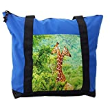 Lunarable Africa Shoulder Bag, Two Giraffes in the Forest, Durable with Zipper