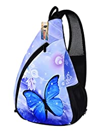 ICOLOR Unisex CrossBody Shoulder Sling Bag Travel Backpack Chest Bag for Men Women, Camping Hiking Cycling Bicycling Lightweight Daypack with Adjustable Shoulder Strap, Boys Girls Outdoor Activities ideas