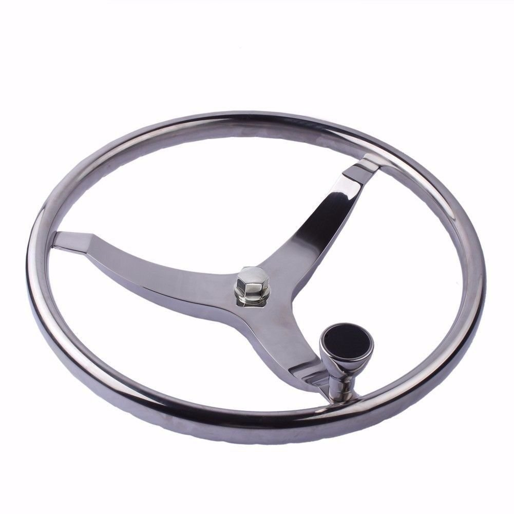 Hoffen 13-1/2'' Dia Steering Wheel,3 Spokes with Turning Knob 1/2''-20 Nut,Stainless Steel for Seastar and Verado Marine Boat by Hoffen