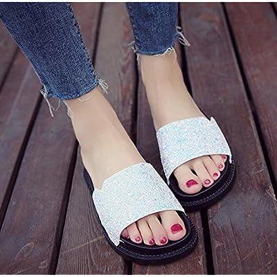 KHSKX-L'Été Frais Sandales Femme Blanc 4Cm Fendu Plat Chaussons Chaussons Chaussures De Plage Occasionnels Des Jeunes Filles Portant La Nouvelle Vague 36