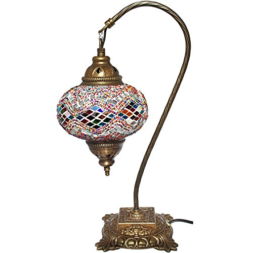 Mosaic Table Lamp,16.5 inches height x 6.7 inches lamp diameter.Desk Light, Lantern, Boho Lamps, Eclectic Decorating, Moroccan House, Marrakesh Design, Turkish Lights, Rustic Furniture, Christmas Gift by Effak