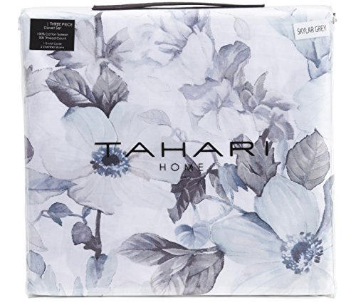 Tahari Home King Duvet Cover Set 3 Piece Luxury Cotton Sateen Floral Gray, Blue and White Botanical Garden Skylar Bedding from Tahari Home