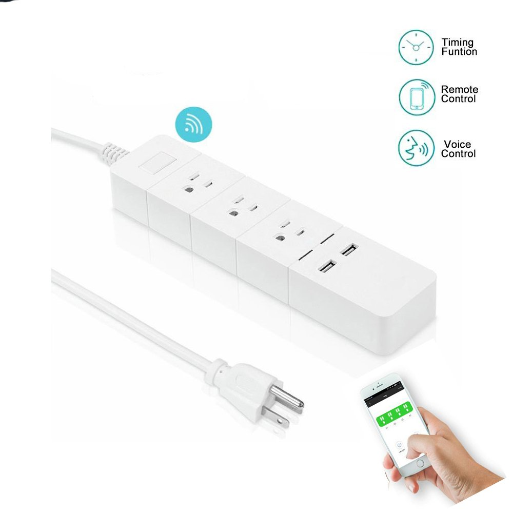 Smart Wifi Surge Protector Power Strip – Wireless Remote Control Outlet & Usb Wall Charger Ports, Multi Plug Outlet, Timer Switch and Voice Control, Compatible with Alexa & Google Home