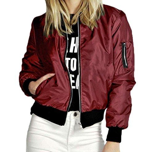 Vin Zipper Bomber Court Femme rouge Nouvelles Manteau Moto shirts Blouson Mode Sweat Manteau Biker Veste Souple Jacket Mince SqUaznS7