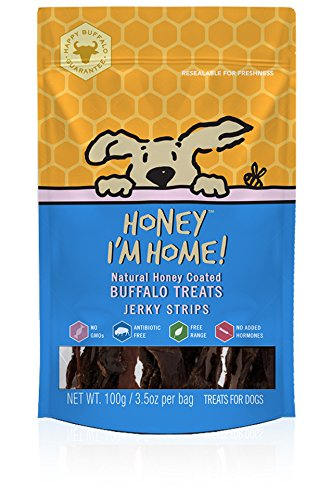 Honey I'm Home All Natural, Honey Coated Buffalo Jerky Strips for Dogs
