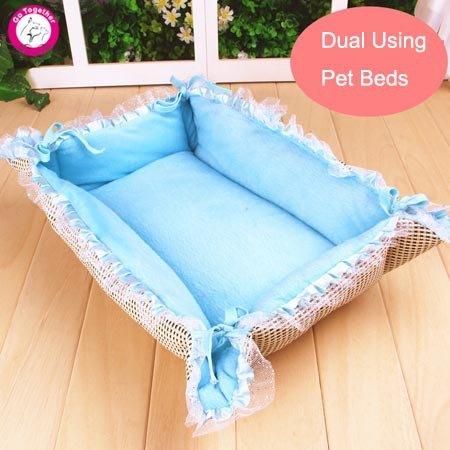 Fushia M fushia M BOSUN(TM) Princess Pet Puppy Beds Rattan Fleece Winter Summer Luxury Lace Dog Cat Beds Cushion