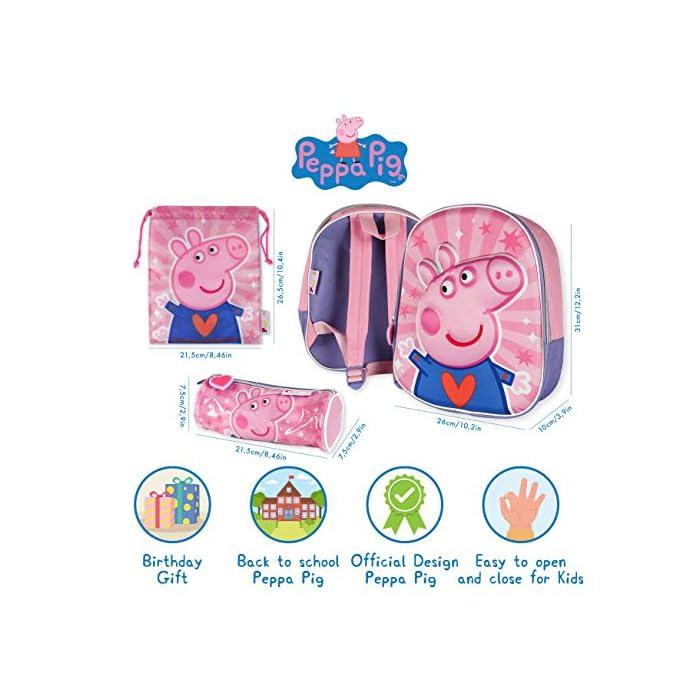 51N7OrmlgRL 💗 PACK DE 3 PRODUCTOS ESCOLARES – Ideal para niños y niñas a partir de 3 años. Distintas medidas para diferentes usos a lo largo del día. Mochila escolar con tirantes: 26 x 31 x 10 cm. Bolsa de merienda: 26,5 x 21,5 cm. Estuche escolar: 21,5 x 7,5 x 7,5 cm. Material tela de poliéster resistente y ligero. Todos los productos son fáciles de usar para los niños 💗 MOCHILA ESCOLAR INFANTIL – Parte frontal de la mochila con diseño en 3D de Peppa Pig creando divertidos detalles e impactantes efectos de color. El tamaño es idóneo para niños de 3 a 6 años, para usar en el colegio o actividades extraescolares. Las tiras pueden regularse y ajustarse según la altura del niño 💗 BOLSA PARA MERIENDA – Con cierre de cuerdas a los lados. En color rosa de Peppa Pig. Esta mochila infantil es ideal para meter el almuerzo o merienda de los niños, también se puede usar en parvulario o para guardar juguetes. Su diseño de cuerdas permite que los niños puedan abrir y cerrar la mochila ellos solos