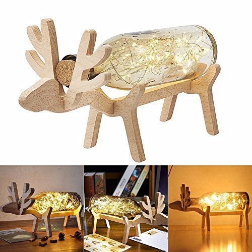 Wood Bottle Holder, Creative Wine Rack, Cute Bottle Light Holder for Home Decoration, Great Gift (deer)