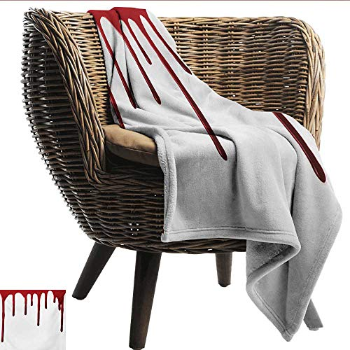 (EwaskyOnline Horror Baby Blanket Flowing Blood Horror Spooky Halloween Zombie Crime Scary Help me Themed Illustration Recliner Throw,Couch Throw, Couch wrap 91