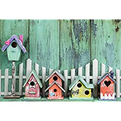 Leyiyi 9x6ft Cartoon Birdhouse Backdrop Rustic Wooden Board Western Rural Farmhouse Wood Fence Happy Easter Photography Backgroud Cowboy Birthday Adults Portrait Shoot Studio Prop Vinyl Wallpaper
