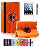 ShopNY Case - Apple iPad Mini Case - 360 Degree Rotating Stand Case Cover with Auto Sleep / Wake Feature for iPad mini (10 Colors) (Orange)