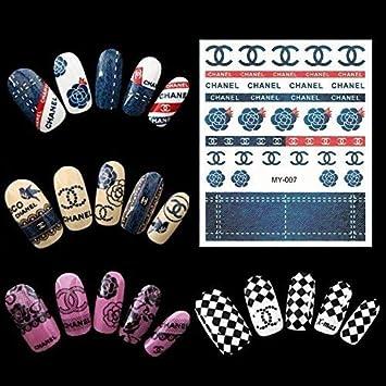 Amazon.com: Designer CC Logo Blue Jean Jacket Nail Decals Blue and ...