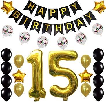 Amazon.com: 15 cumpleaños decoraciones fiesta suministros ...