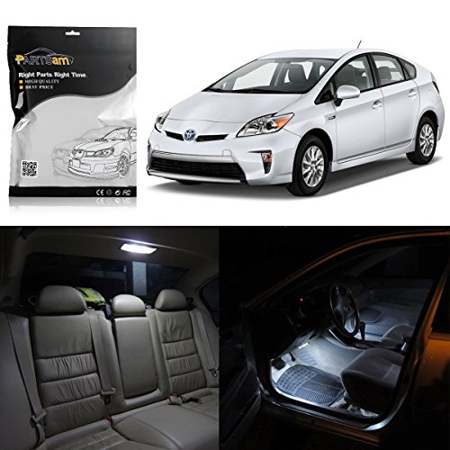 Partsam White LED Interior Package Deal Replacement for Toyota Prius 2012-2014 (10 Pieces)
