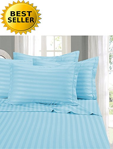 Elegant Comfort #1 Bed Sheet Set on Amazon - Super Silky Soft - 1500 Thread Count Egyptian Quality Luxurious Wrinkle, Fade, Stain Resistant 6-Piece Stripe Bed Sheet Set, Queen Aqua