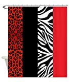 Decorative Red Leopard And Zebra Animal Print Fabric Shower Curtain