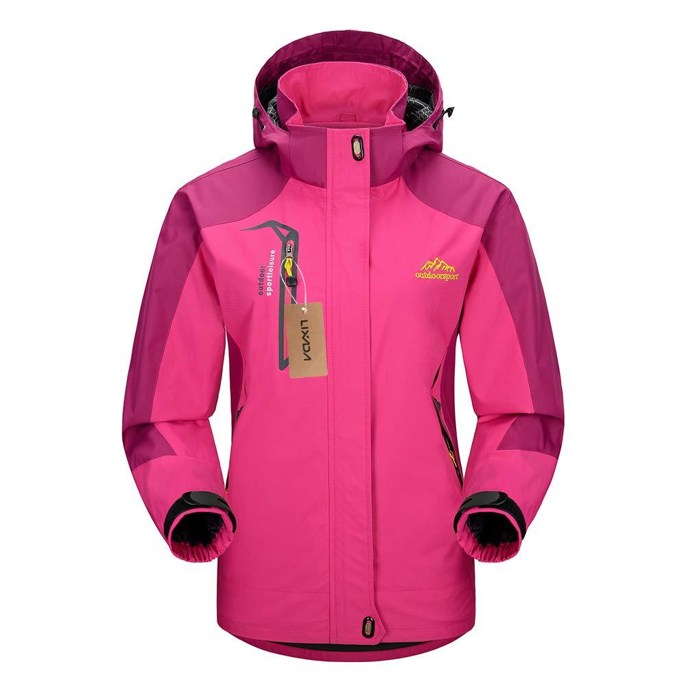 Lixada Giacca Sci Donna Impermeabile Antivento All'aperto Escursionismo Viaggiare Cappotto con Cappuccio Rimovibile