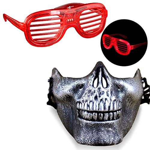 Halloween Mask Glasses Novelty Toys Horror Half Face Skull Masks Cosplay Costume Party Nightclub Props for Men and Women -