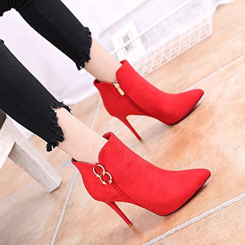 Shukun Stiefeletten Herbst und Winter Spitzen Stiletto Stiefel Damen Stiefeletten 10cm High Heels Super High Heel Kurze Martin Stiefel
