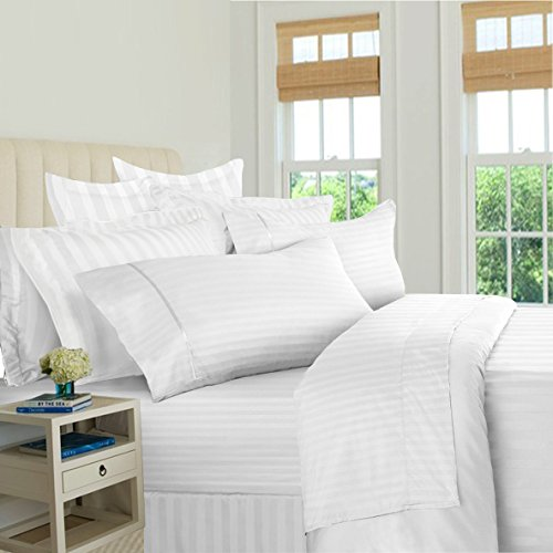 Bed Bath Fashions Fifth Ave Luxury 500 Thread Count 100% Egyptian Quality Cotton Sateen Stripe Sheet Set - Deep Pocket Ultra Soft Welspun Hotel Bed Linens (King, - Sheet 500 Set