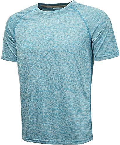 GEEK LIGHTING Men's Big and Tall Fit Short-Sleeve Crewneck T-Shirt(Lake Blue,3XL)