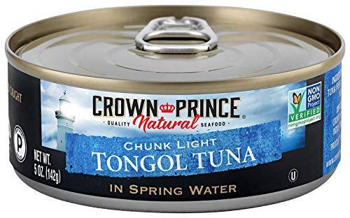 Crown Prince Natural Chunk Light Tongol Tuna in Spring Water, 5 Ounce Cans (Pack of 12)