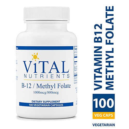 Brain Nutrients (Vital Nutrients - Vitamin B12 / Methyl Folate - Supports Healthy Brain Cell Function - 100 Capsules per Bottle)