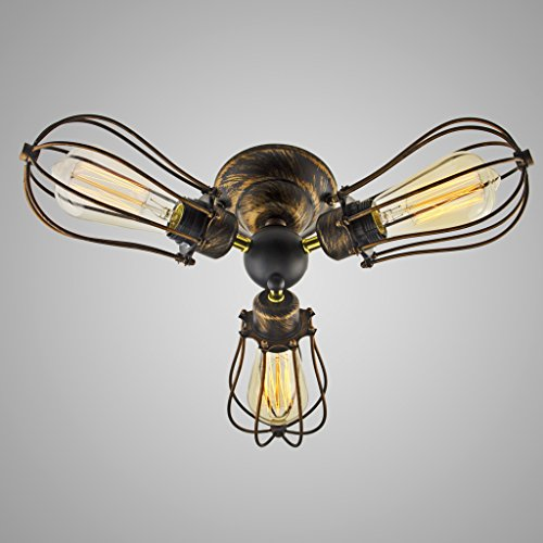 Electro_BP Vintage Barn Metal Flush Mount Light Max 180w with 3 Lights Black with Gold Finish