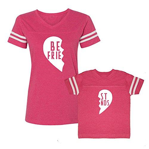 We Match!! - Best Friends (Two Halves of a Heart) - Matching Women's Football T-Shirt & Kids T-Shirt Set (3T, Women's 2XL, Hot Pink, White Print)