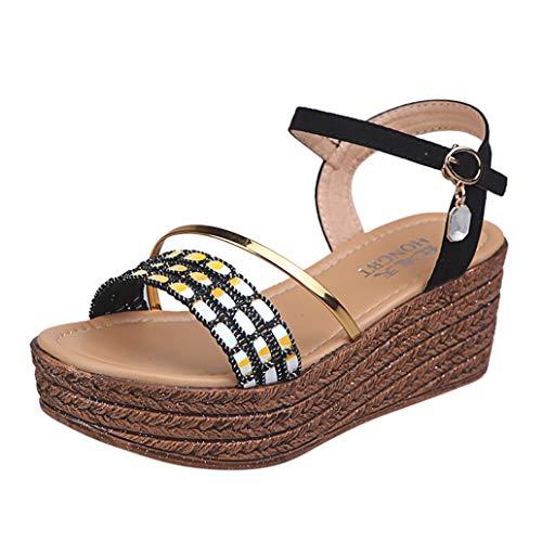 (Loosebee Women's Wedge Sandals with Pearls Across The Top Platform Sandals High Heels)