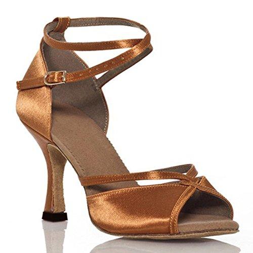Mou Chaussures de Danse Chaussures Danse Womens Sociale Sandale Chaussures Danse Fond WYMNAME Complexion de Latine de Satin wq8OSSx1