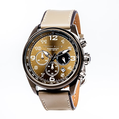 - Perry Ellis Mens Watch Unisex GT 44mm Chronograph Analog Quartz Watch with Genuine Leather Band Waterproof Women Gift Watch Anniversary Gifts for Men Fashion Luxury Casual Business WristWatch 01006-01