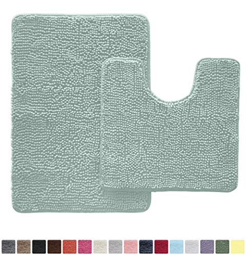 Gorilla Grip Original Shaggy Chenille 2 Piece Bath Rug Set Includes Oval U-Shape Contoured Mat for Toilet and 30x20 Carpet Rugs, Machine Wash Dry, Plush Mats for Tub, Shower and Bathroom, Spa Blue