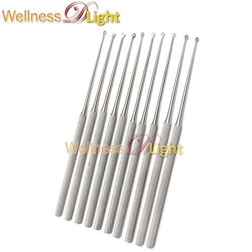 WDL 10 PCS BUCK EAR CURETTE #2 BLUNT STRAIGHT 6.5'' VETERINARY ENT INSTRUMENTS by WellnessD'Light® (Image #1)