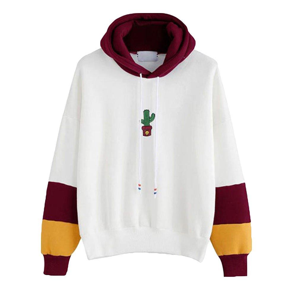 Hibote Damen Kapuzenpullover Lange /Ärmel Pullover Herbst Mode Gestreift Oberbekleidung L/ässiges Sweatshirt Hoodies Pullover Tops
