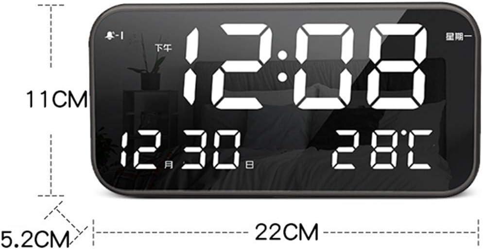 Ybzx Digitale Radio Alarm Klokken Nachtkastje Mains Aangedreven Verstelbare Helderheid Led Spiegel Alarm Klokken Draagbare Festival Geschenken, A A